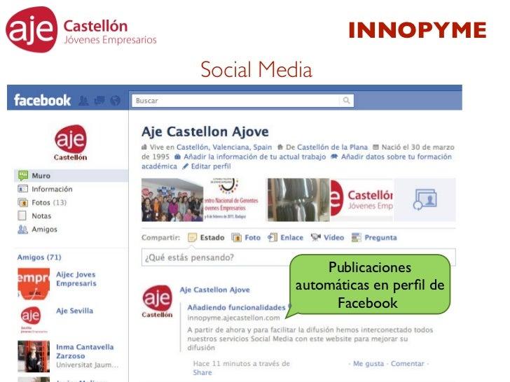 INNOPYMESocial Media              Publicaciones          automáticas en perfil de               Facebook