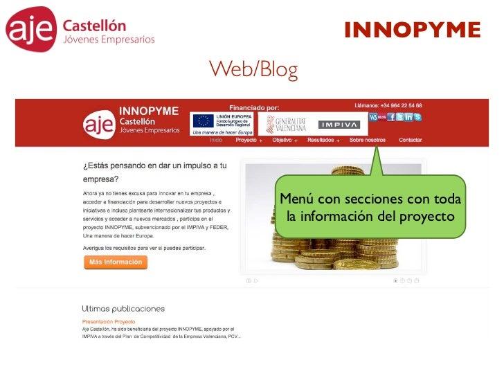 INNOPYMEWeb/Blog      Menú con secciones con toda       la información del proyecto