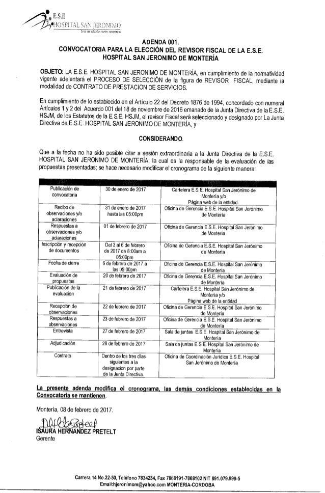 ADENDA 001 - Convocatoria para la elección del revisor Fiscal de la E.S.E Hospital San Jerónimo de Montería