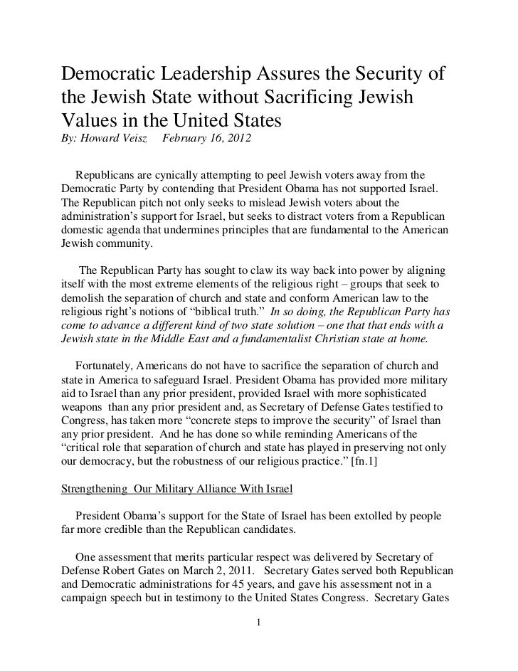 Democratic Leadership Assures the Security ofthe Jewish State without Sacrificing JewishValues in the United StatesBy: How...