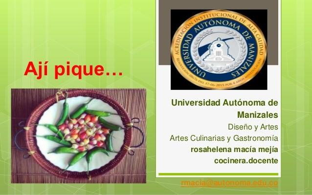 Ají pique… Universidad Autónoma de Manizales Diseño y Artes Artes Culinarias y Gastronomía rosahelena macía mejía cocinera...