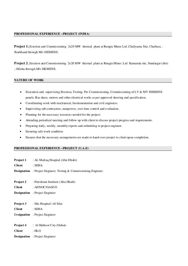 electrical engineer cv  site engineer cv  project engineer cv