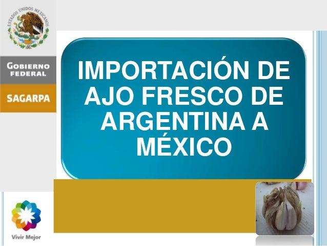 IMPORTACIÓN DE AJO FRESCO DE ARGENTINA A MÉXICO