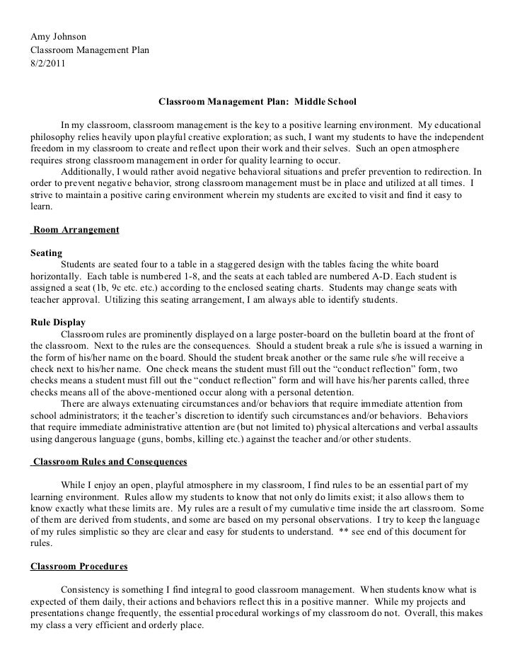 2011-2012 Classroom Management Plan