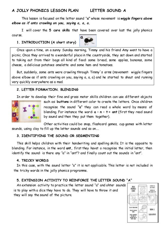 A Jolly Phonics Lesson Plan Letter Sound A