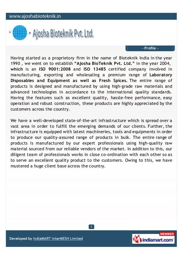 Ajosha Bioteknik Private Limited,  Mumbai, Laboratory Disposables And Equipment Slide 2