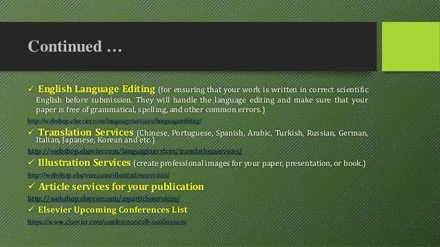 Elsevier english language editing service