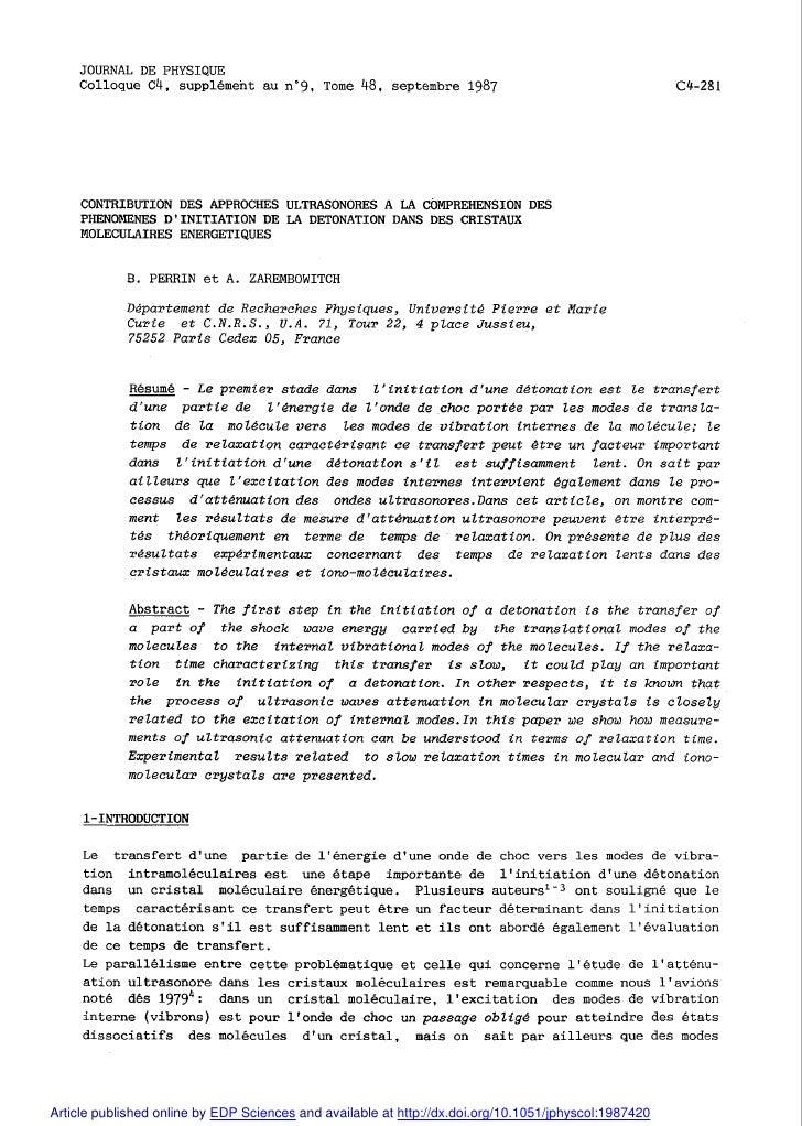 JOURNAL DE PHYSIQUE     Colloque C4, supplément au n09, Tome 48, septembre 1987     CONTRIBUTION DES APPROCHES ULTRASONORE...