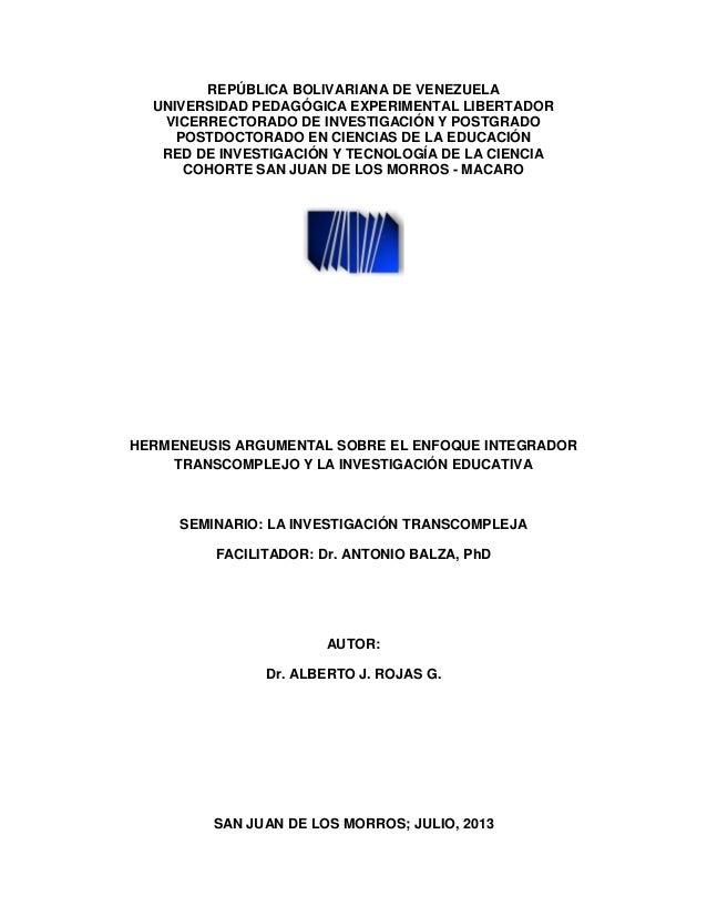 REPÚBLICA BOLIVARIANA DE VENEZUELA UNIVERSIDAD PEDAGÓGICA EXPERIMENTAL LIBERTADOR VICERRECTORADO DE INVESTIGACIÓN Y POSTGR...