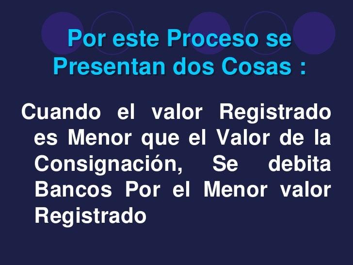 Por este Proceso se  Presentan dos Cosas :Cuando el valor Registrado es Menor que el Valor de la Consignación, Se debita B...