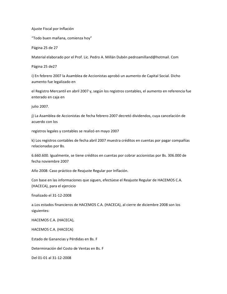 """Ajuste Fiscal por Inflación""""Todo buen mañana, comienza hoy""""Página 25 de 27Material elaborado por el Prof. Lic. Pedro A. Mi..."""