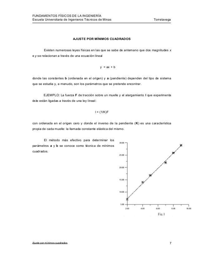 FUNDAMENTOS FÍSICOS DE LA INGENIERÍA Escuela Universitaria de Ingenieros Técnicos de Minas Torrelavega AJUSTE POR MÍNIMOS ...