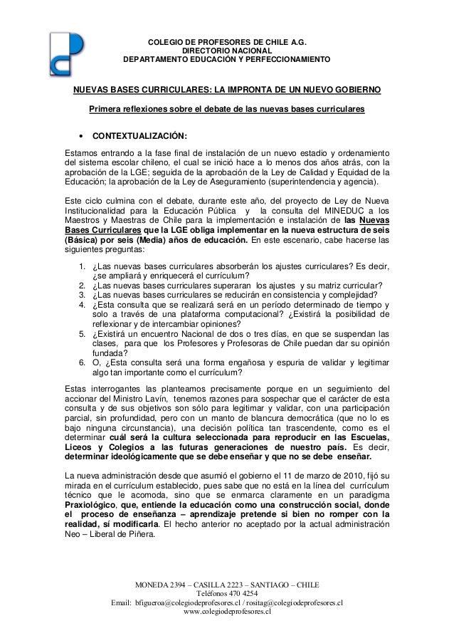 COLEGIO DE PROFESORES DE CHILE A.G. DIRECTORIO NACIONAL DEPARTAMENTO EDUCACIÓN Y PERFECCIONAMIENTO  NUEVAS BASES CURRICULA...