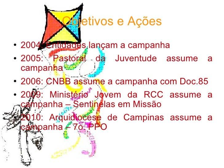 Objetivos e Ações <ul><li>2004: Entidades lançam a campanha </li></ul><ul><li>2005: Pastoral da Juventude assume a campanh...