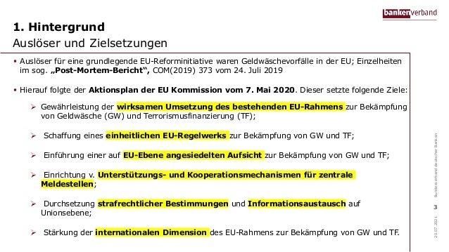 Regulierungspaket der EU-Kommission zur Bekämpfung von Geldwäsche und Terrorismusfinanzierung Slide 3