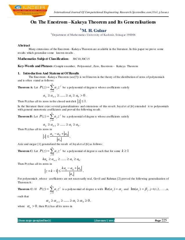 I nternational Journal Of Computational Engineering Research (ijceronline.com) Vol. 3 Issue.1            On The Enestrom –...