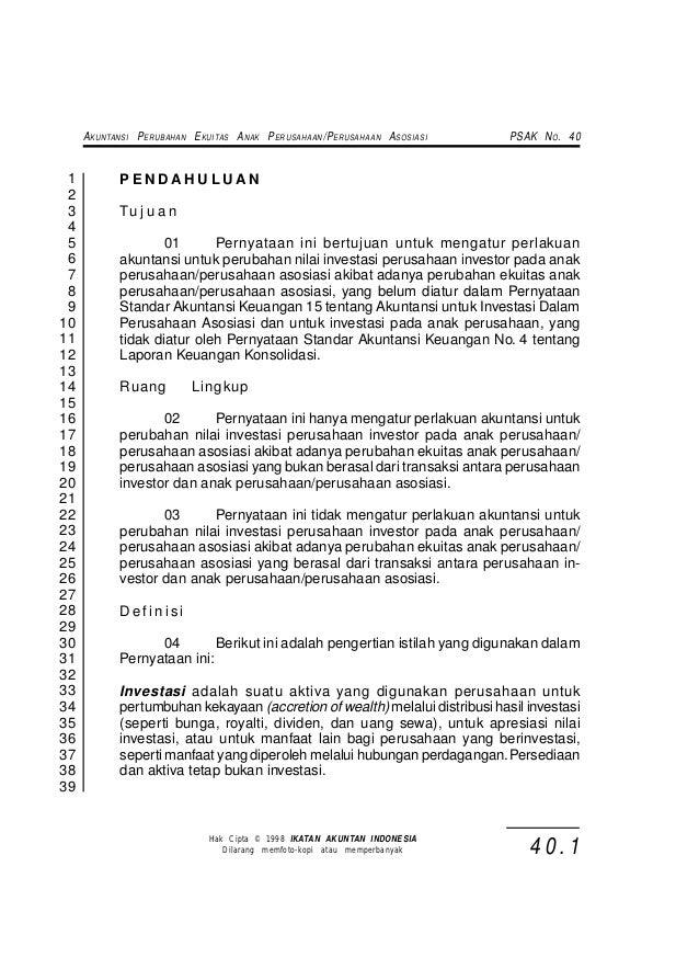 A KUNTANSI P ERUBAHAN E KUITAS A NAK P ERUSAHAAN /P ERUSAHAAN A SOSIASI   PSAK N O . 40 1          PENDAHULUAN 2 3        ...