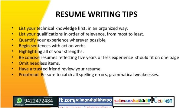 resume writing tips list your technical