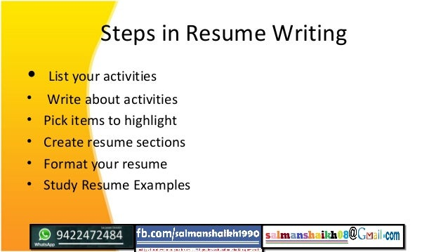 Steps In Resume Writing ...