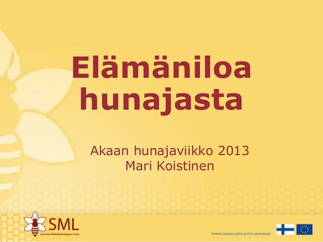 Elämäniloa hunajasta Akaan hunajaviikko 2013 Mari Koistinen