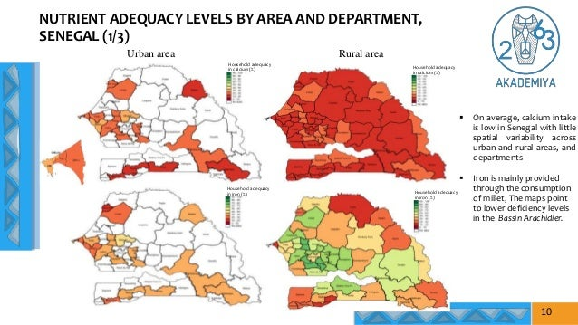 NUTRIENT ADEQUACY LEVELS BY AREA AND DEPARTMENT, SENEGAL (1/3)  On average, calcium intake is low in Senegal with little ...