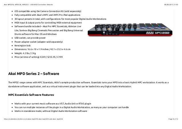 Akai mpd218, mpd226, mpd232 usb midi controllers website