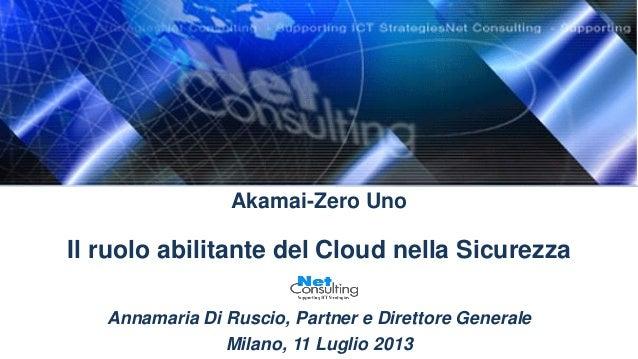 Akamai-Zero Uno Il ruolo abilitante del Cloud nella Sicurezza Annamaria Di Ruscio, Partner e Direttore Generale Milano, 11...