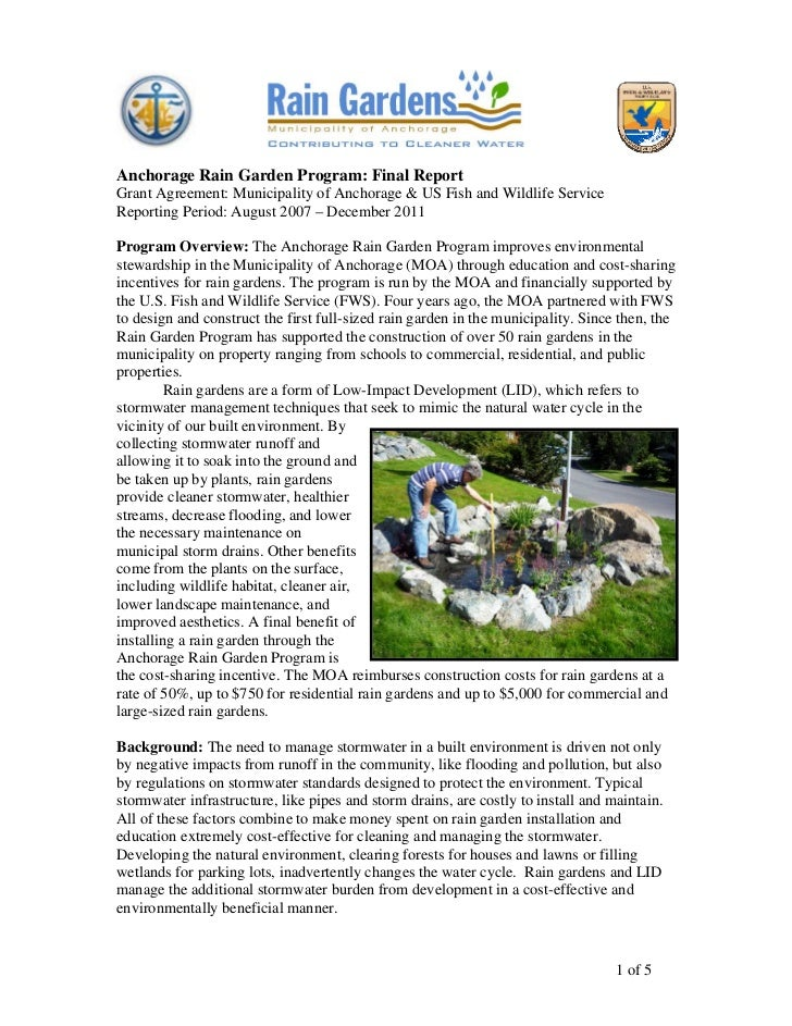 Anchorage Rain Garden Program: Final ReportGrant Agreement: Municipality of Anchorage & US Fish and Wildlife ServiceReport...