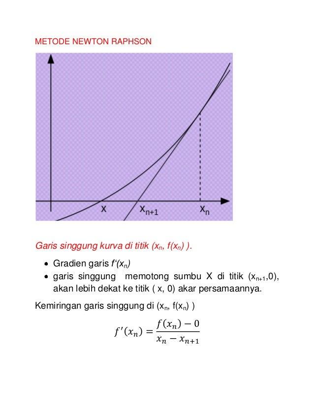 METODE NEWTON RAPHSON  Garis singgung kurva di titik (xn, f(xn) ). Gradien garis f'(xn) garis singgung memotong sumbu X di...