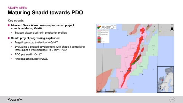 16 SKARV AREA  Idun and Skarv A low pressure production project completed during Q4-16 • Support slower decline in produc...