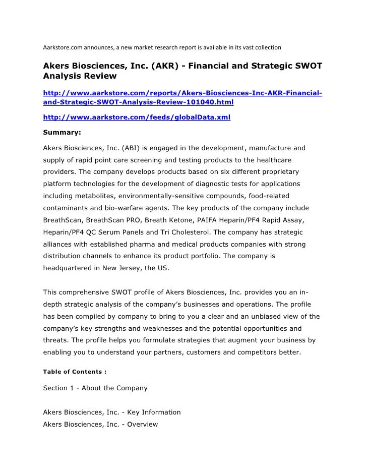 Aarkstore.com announces, a new market research report is available in its vast collectionAkers Biosciences, Inc. (AKR) - F...