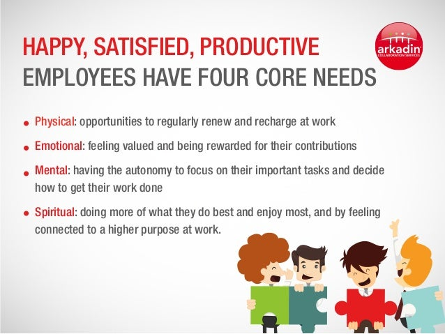 happy workers are more productive Common sense, for example, tells us that happy workers are productive workers people who are more productive tend to receive more recognition.