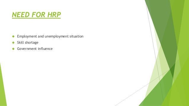 NEED FOR HRP  Employment and unemployment situation  Skill shortage  Government influence