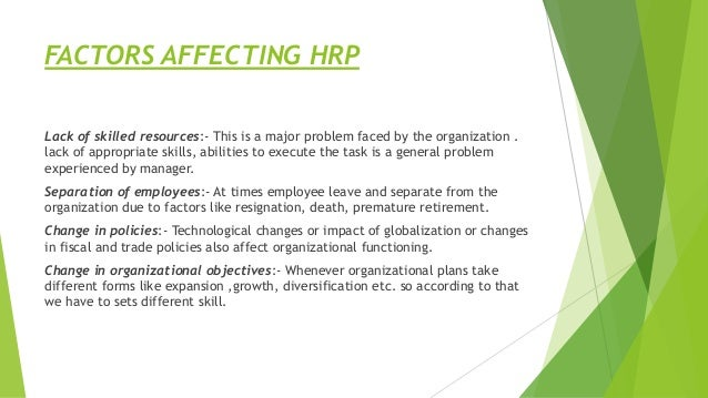FACTORS AFFECTING HRP Lack of skilled resources:- This is a major problem faced by the organization . lack of appropriate ...