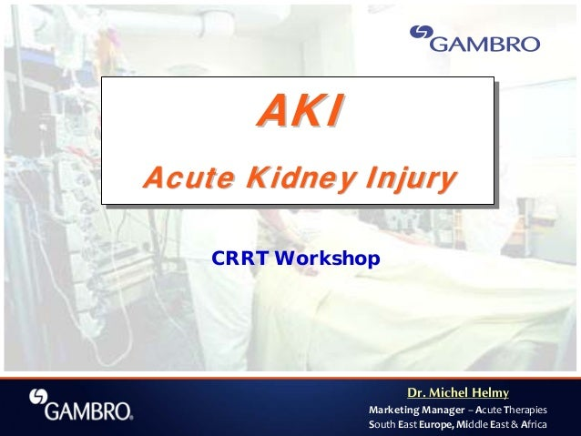 Dr. Michel Helmy Marketing Manager – Acute Therapies South East Europe, Middle East & Africa CRRT Workshop AKI Acute Kidne...