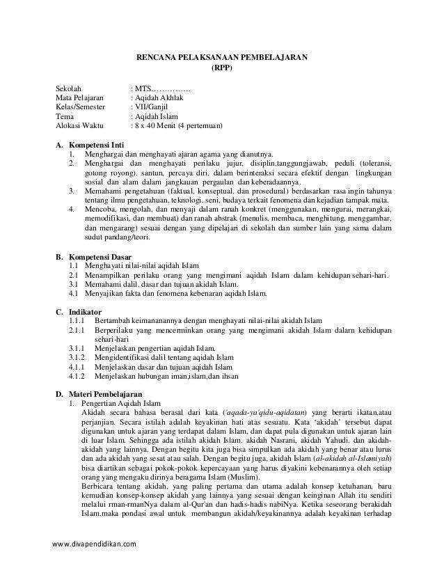 www.divapendidikan.com RENCANA PELAKSANAAN PEMBELAJARAN (RPP) Sekolah : MTS…………… Mata Pelajaran : Aqidah Akhlak Kelas/Seme...