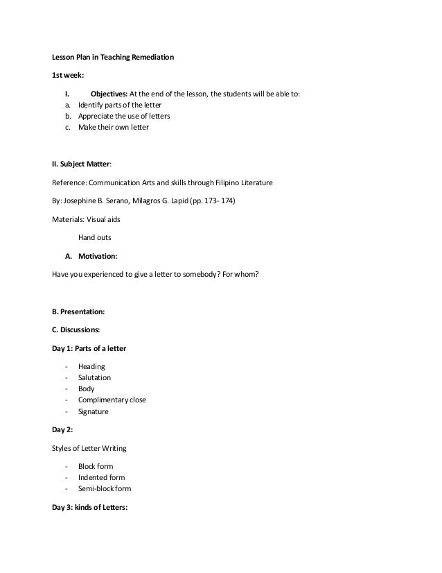 Lesson Plan Letter