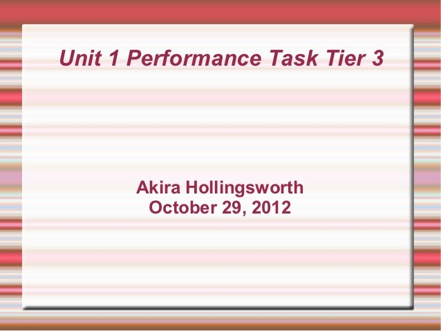Unit 1 Performance Task Tier 3       Akira Hollingsworth        October 29, 2012