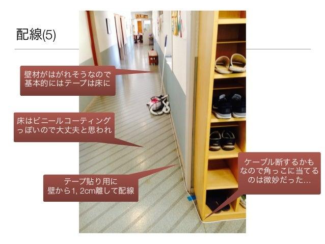 配線(5) ケーブル断するかも なので角っこに当てる のは微妙だった…テープ貼り用に 壁から1, 2cm離して配線 壁材がはがれそうなので 基本的にはテープは床に 床はビニールコーティング っぽいので大丈夫と思われ