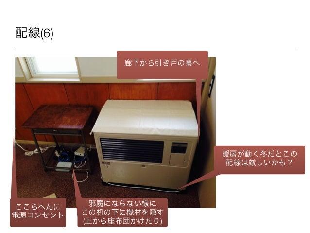 配線(6) 廊下から引き戸の裏へ 暖房が動く冬だとこの 配線は厳しいかも? 邪魔にならない様に この机の下に機材を隠す (上から座布団かけたり) ここらへんに 電源コンセント