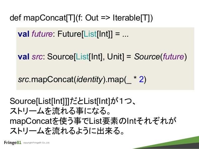 copyright Fringe81 Co.,Ltd. val future: Future[List[Int]] = ... val src: Source[List[Int], Unit] = Source(future) src.mapC...