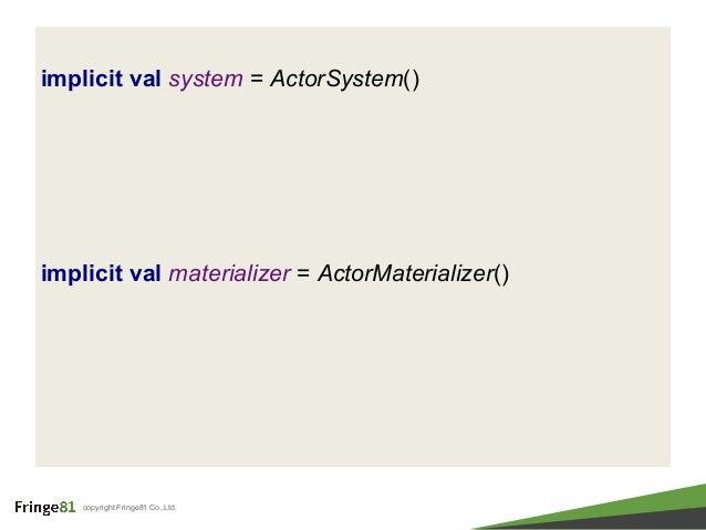 copyright Fringe81 Co.,Ltd. implicit val system = ActorSystem() implicit val materializer = ActorMaterializer()