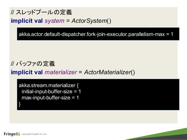 copyright Fringe81 Co.,Ltd. // スレッドプールの定義 implicit val system = ActorSystem() // バッファの定義 implicit val materializer = Actor...