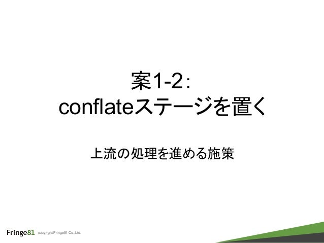 copyright Fringe81 Co.,Ltd. 案1-2: conflateステージを置く 上流の処理を進める施策