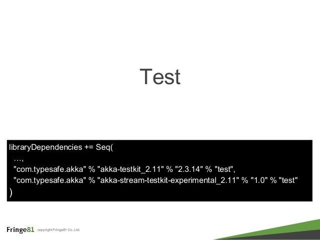 "copyright Fringe81 Co.,Ltd. Test libraryDependencies += Seq( …, ""com.typesafe.akka"" % ""akka-testkit_2.11"" % ""2.3.14"" % ""te..."