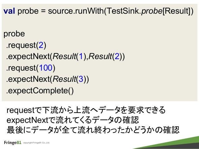 copyright Fringe81 Co.,Ltd. val probe = source.runWith(TestSink.probe[Result]) probe .request(2) .expectNext(Result(1),Res...