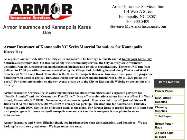 Armor Insurance Services, Inc.<br />114 West A Street<br />Kannapolis, NC 28081<br />704 933 5409<br />Steven@MyArmorInsur...