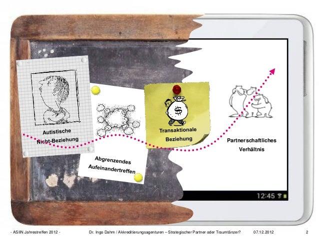 07.12.2012 2- ASIIN Jahrestreffen 2012 - Dr. Ingo Dahm / Akkreditierungsagenturen – Strategischer Partner oder Traumtänzer...