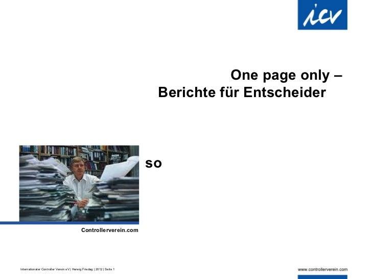 One page only –                                                                          Berichte für Entscheider         ...