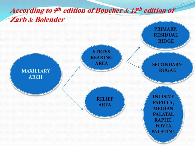 According to 9th edition of Boucher & 12th edition of Zarb & Bolender MAXILLARY ARCH STRESS BEARING AREA RELIEF AREA PRIMA...